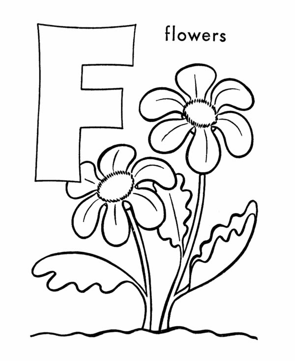 Letter F, : Uppercase Letter F for Flower Coloring Page