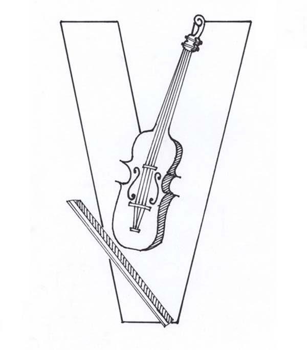 Letter V, : Violin Comes from Learning Letter V Coloring Page