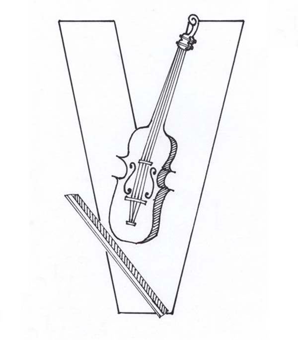 Letter V, : Violin Comes from Learning Letter V Coloring Page