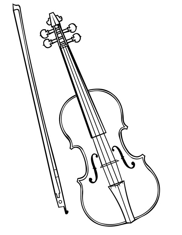 Musical Instruments, : Violin is a Musical Instruments Coloring Pages 2