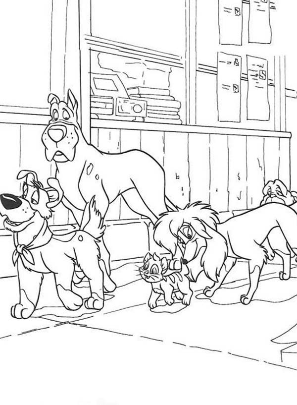 Oliver and Company, : Wander Around in Oliver and Company Coloring Pages
