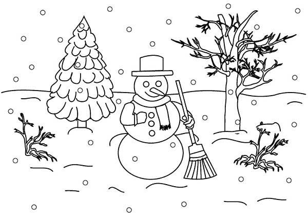 Landscapes, : Winter Snowman Landscapes Coloring Pages