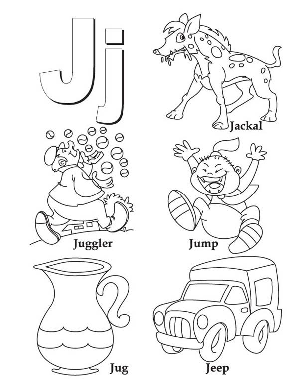 Words Begin with Letter J Coloring Page