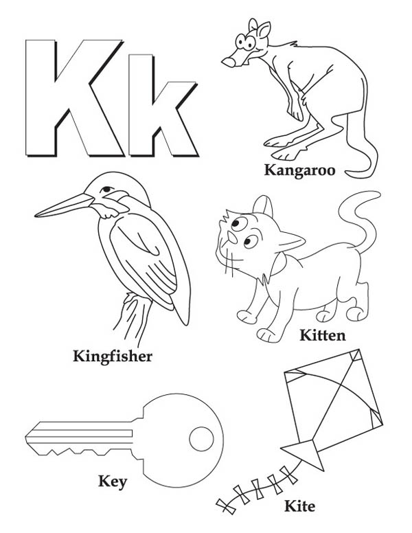 Letter K, : Words Begin with Letter K Coloring Page