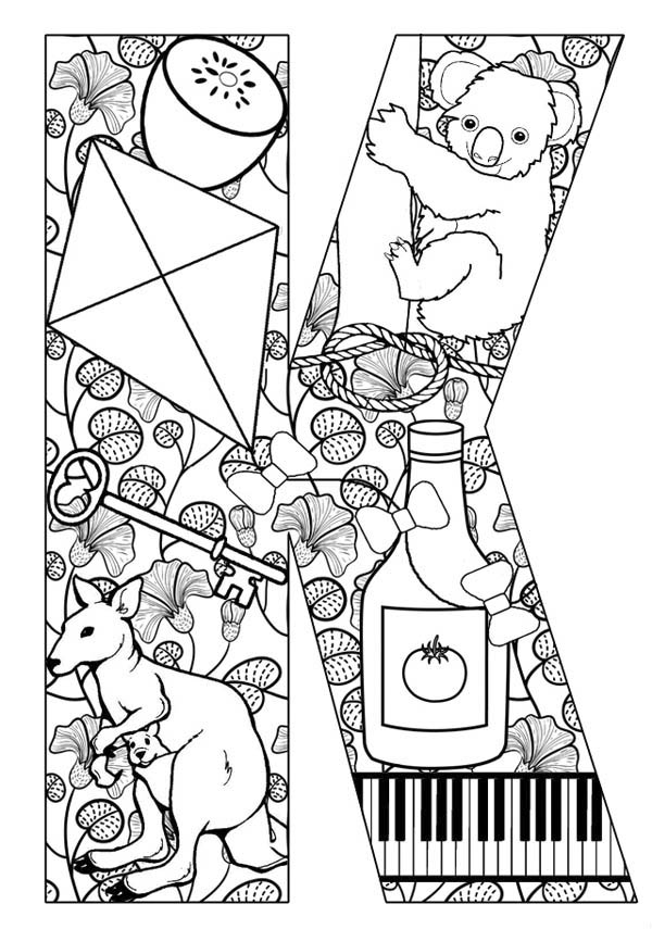 Letter K, : Words Starts with Letter K Coloring Page