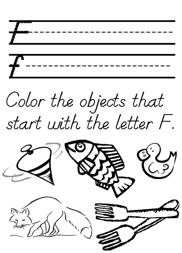 Letter F, : Words for Letter F Coloring Page