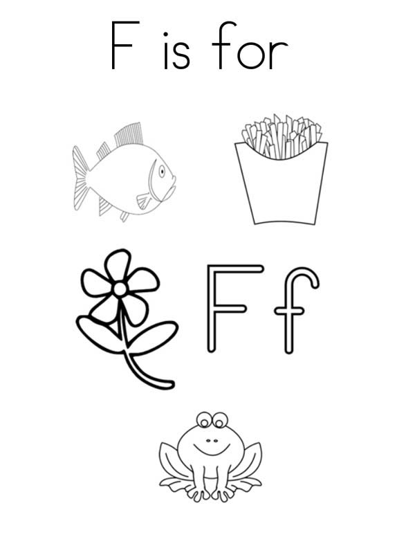 Letter F, : Words from Letter F Coloring Page