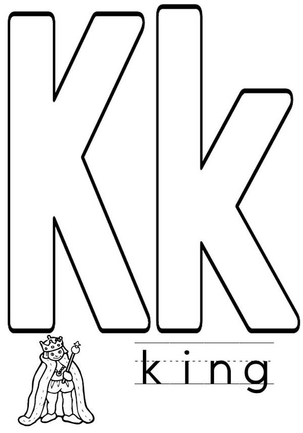 Letter K, : Write Letter K for King Coloring Page
