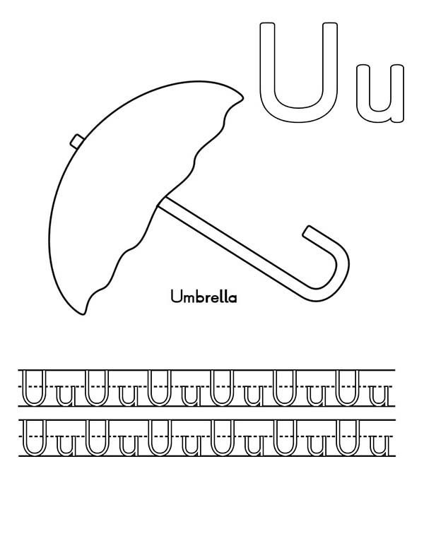 Letter U, : Write Letter U Coloring Page