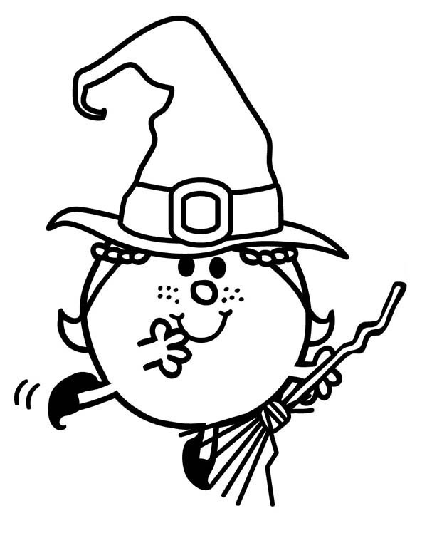 Mr Men and Little Miss, : Zombie and Witches Flying with Magic Broom in Mr Men and Little Miss Coloring Pages 2