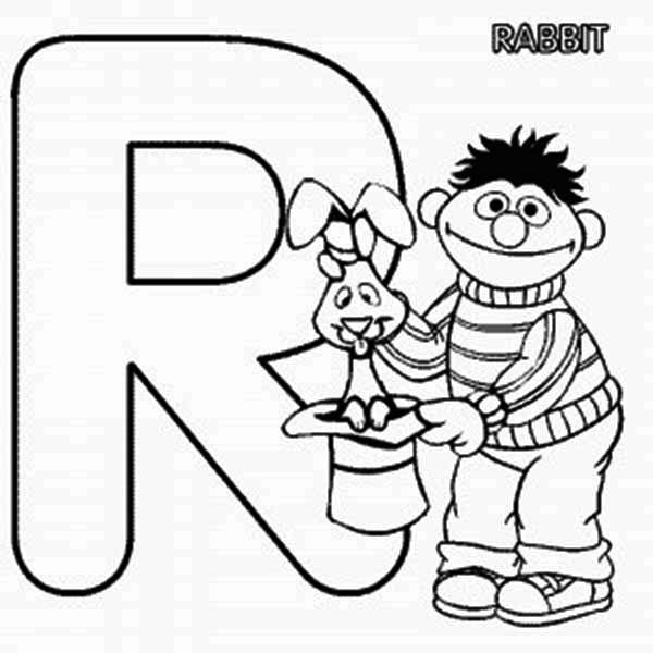 Letter R, : learn Letter R for Rabbit in Sesame Street Coloring Page