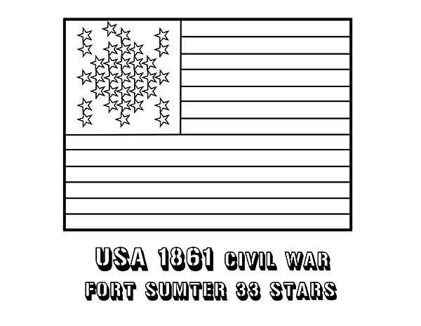 Independence Day, : 33 Star Flag for 4th July Independence Day Coloring Page