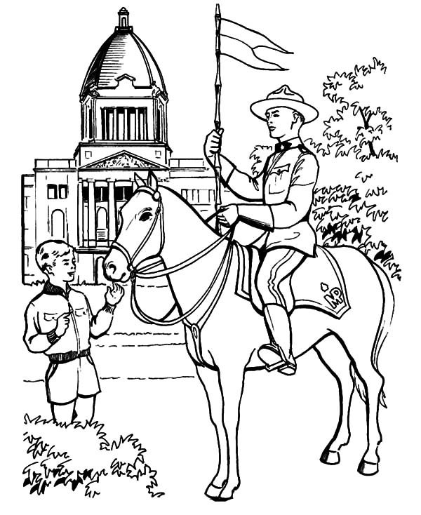 Canada Day, : A Brave National Horse Guard on Canada Day Coloring Pages
