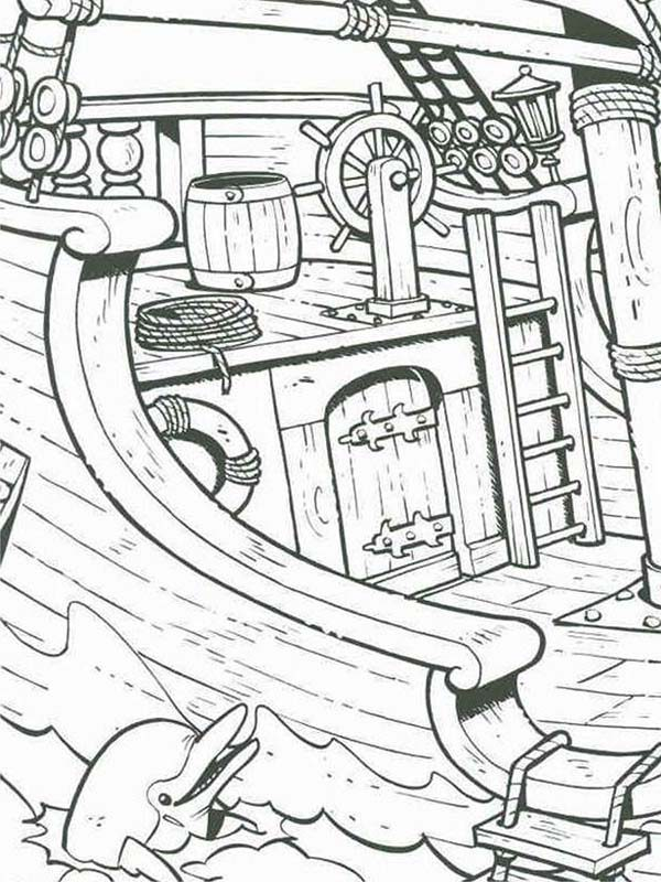 Piet Pirate, : A Dolphin Near Piet Pirate Ship Coloring Pages