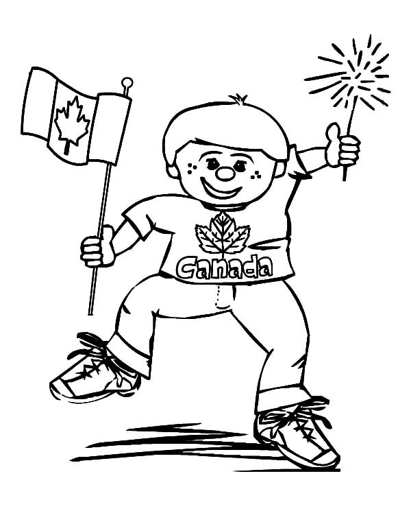 Canada Day, : A Joyous Little Boy on Canada Day Coloring Pages