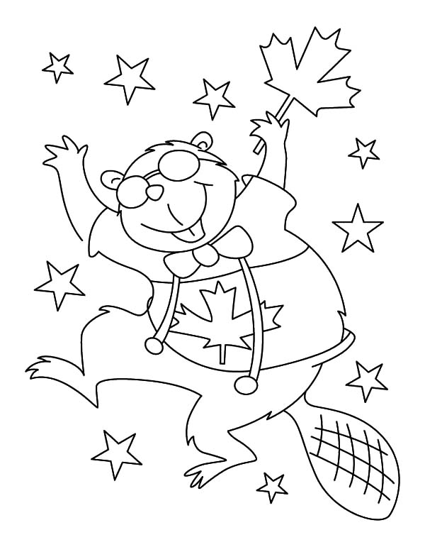 Canada Day, : A Joyous National Beaver Dancing on Canada Day Coloring Pages