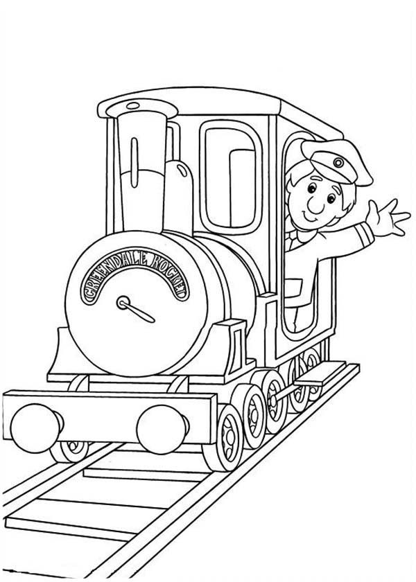 Postman Pat, : Ajay Bains on a Locomotive in Postman Pat Coloring Pages