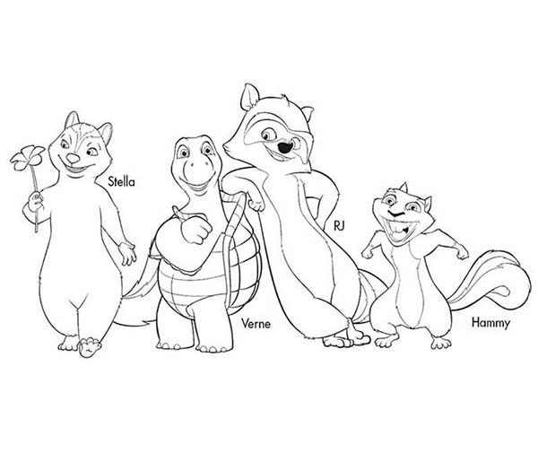 Over the Hedge, : All Characters Over the Hedge Coloring Pages