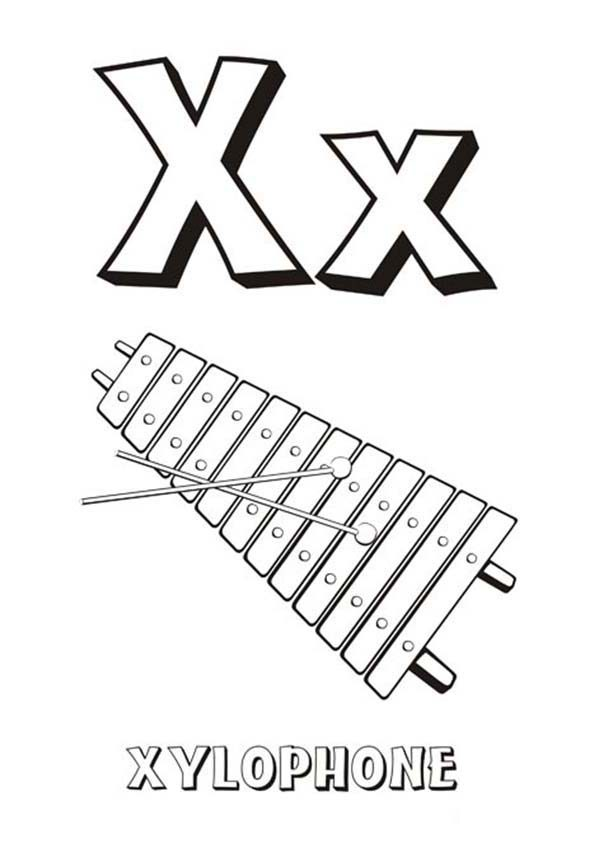 Letter X, : Alphabet Letter X is for Xylophone Coloring Page