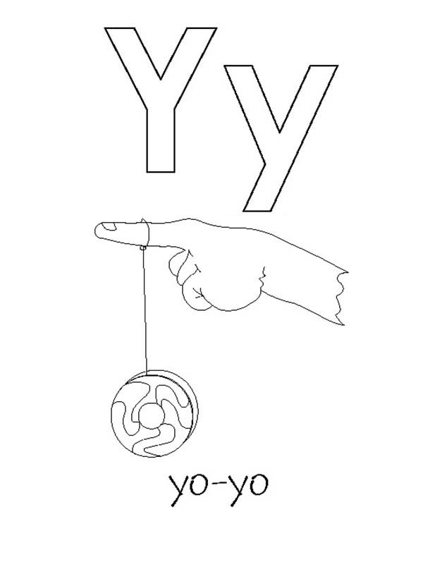 Letter Y, : Alphabet Letter Y for Yo Yo Coloring Page