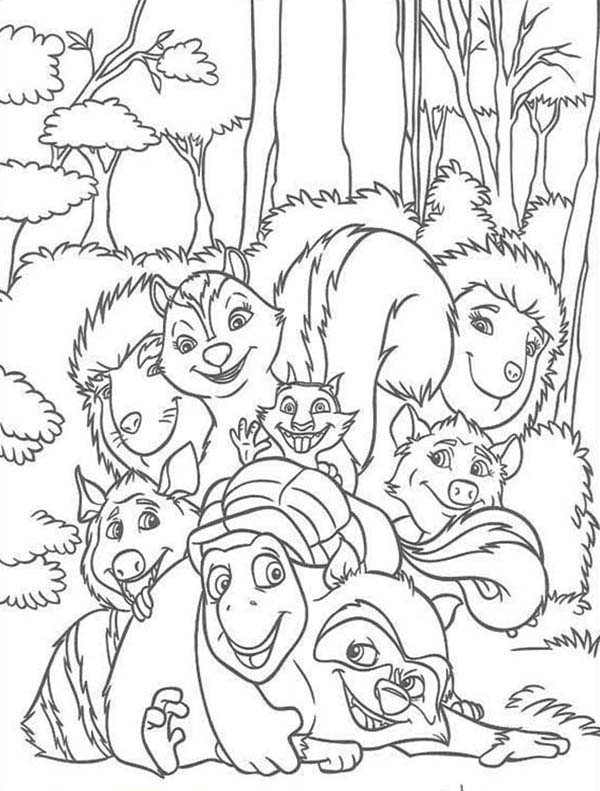 Over the Hedge, : Amazing Over the Hedge Gang Coloring Pages