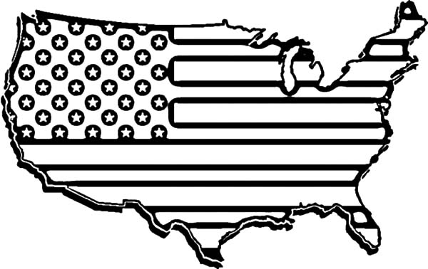 Independence Day, : American Flag Map for 4th July Independence Day Coloring Page