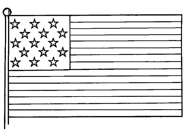 Independence Day, : American Flag Picture for 4th July Independence Day Coloring Page