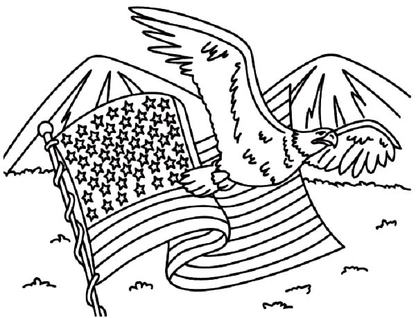Independence Day, : American Flag and Eagle for 4th July Independence Day Coloring Page
