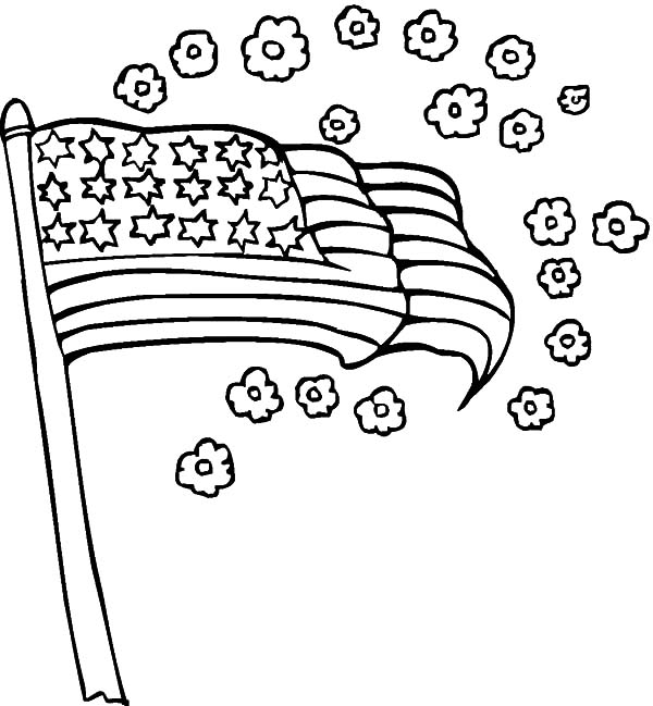 Independence Day, : American Flag and Flower for 4th July Independence Day Coloring Page