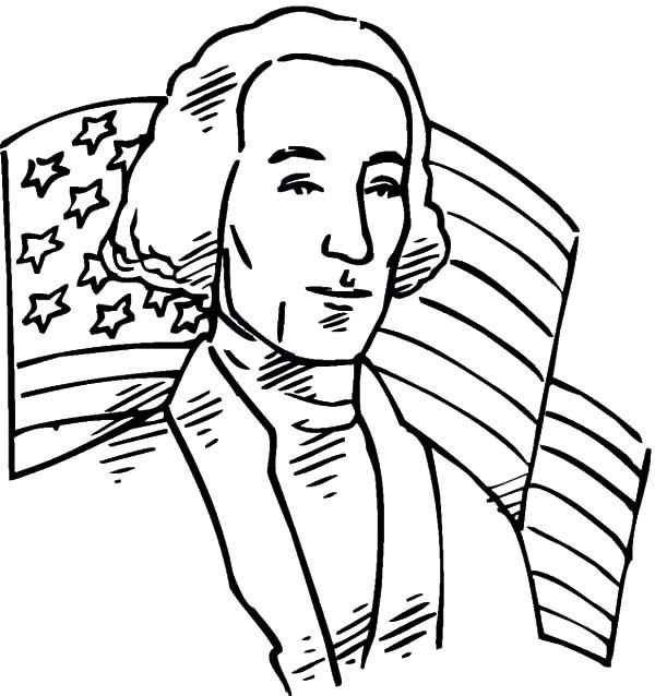 Independence Day, : American Flag and George Washington on 4th July Independence Day Coloring Page