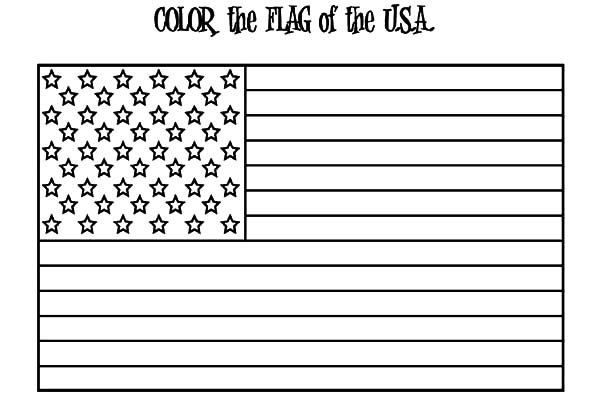 Independence Day, : American Flag for 4th July Independence Day Coloring Page