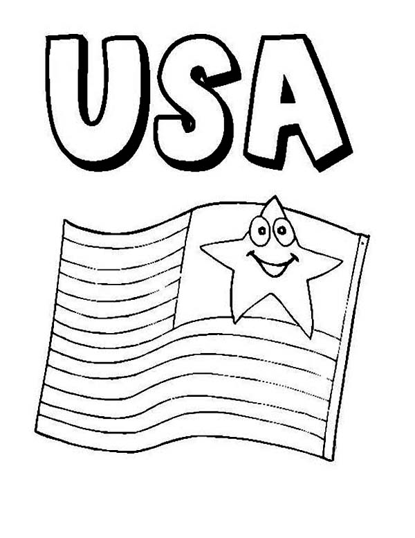 Independence Day, : American Flag on 4th July Independence Day Coloring Page