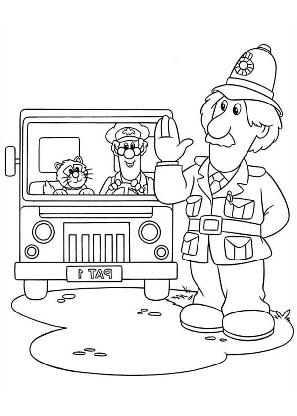 Postman Pat, : Arthur Shelby say Hi to Postman Pat Coloring Pages