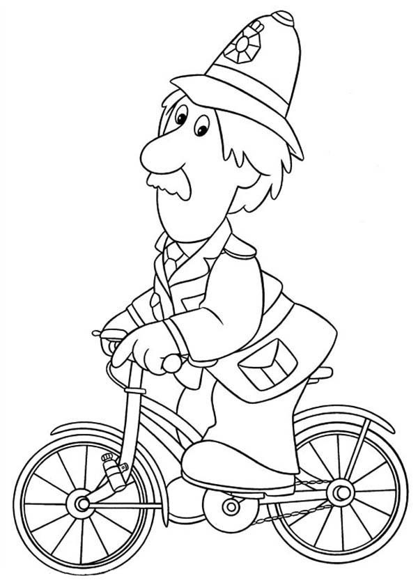 Postman Pat, : Arthut Shelby Ride a Bike in Postman Pat Coloring Pages