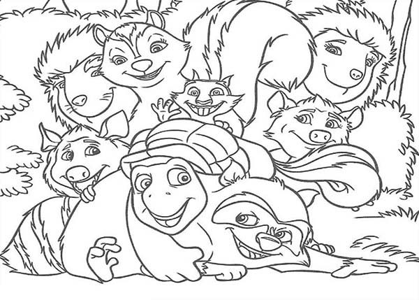 Over the Hedge, : Awesome Over the Hedge Gang Coloring Pages