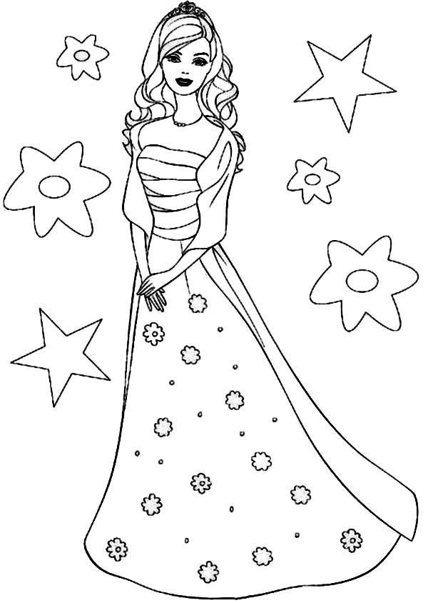 Princesses Birthday, : Barbie Princesses Birthday Coloring Pages