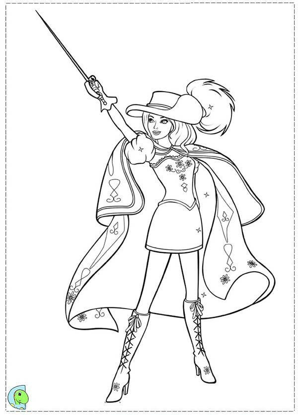 Barbie And Three Musketeers Coloring Pages Bulk Color