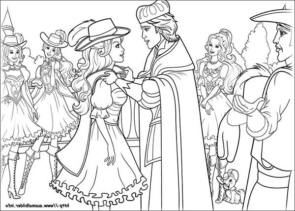 Barbie and Three Musketeers, : Barbie and Three Musketeers Coloring Pages Accepting Appreciation from the King