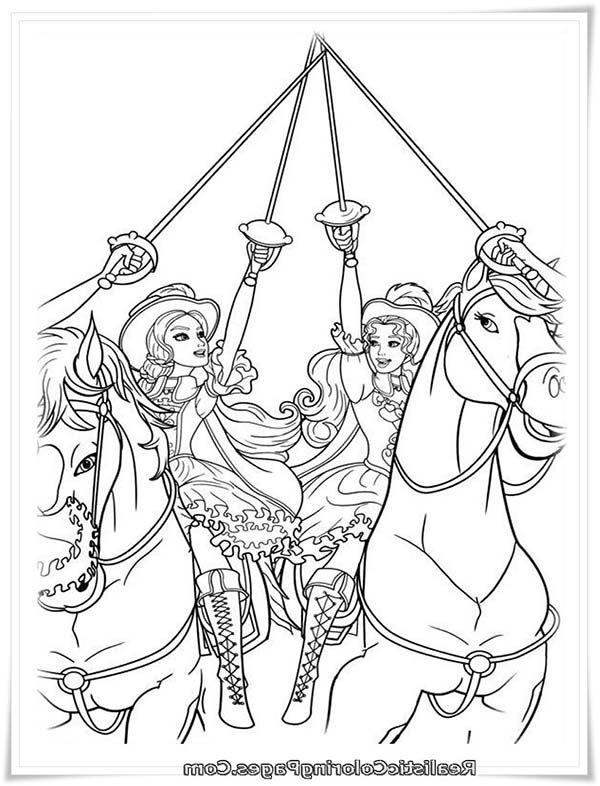 Barbie and Three Musketeers, : Barbie and Three Musketeers Coloring Pages All for One and One for All