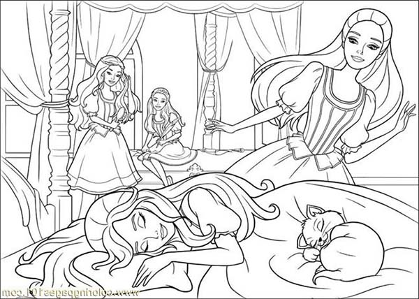 Barbie and Three Musketeers, : Barbie and Three Musketeers Coloring Pages Falling Asleep
