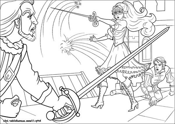 Barbie and Three Musketeers, : Barbie and Three Musketeers Coloring Pages Save the Prince