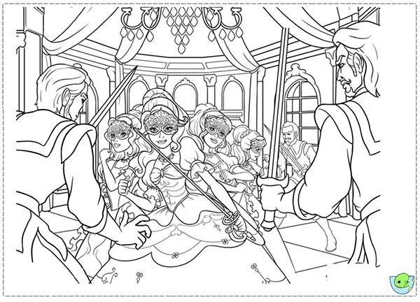 Barbie and Three Musketeers, : Barbie and Three Musketeers Coloring Pages Surrounded by Villains