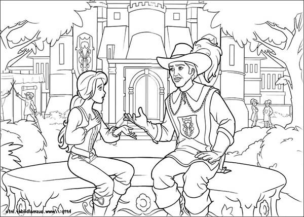 Barbie and Three Musketeers, : Barbie and Three Musketeers Coloring Pages at the Garden with Prince