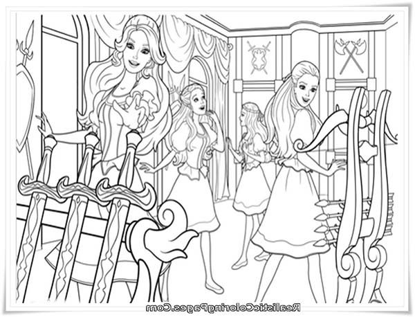 Barbie and Three Musketeers, : Barbie and Three Musketeers Coloring Pages in Armour Room