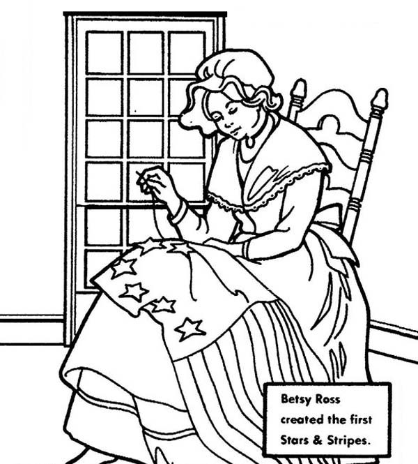 Independence Day, : Betsy Ross Making American Flag for 4th July Independence Day Coloring Page