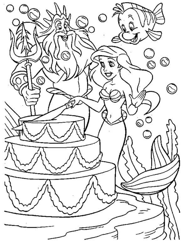 Princesses Birthday, : Big Cake for Princess Ariel Birthday in Princesses Birthday Coloring Pages