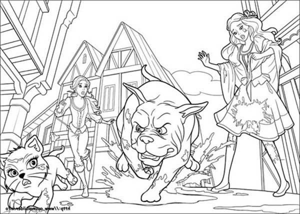 Barbie and Three Musketeers, : Big Dog Chasing Little Cat in Barbie and Three Musketeers Coloring Pages