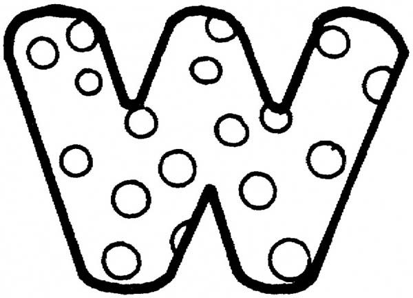 Letter W, : Big Letter W Coloring Page