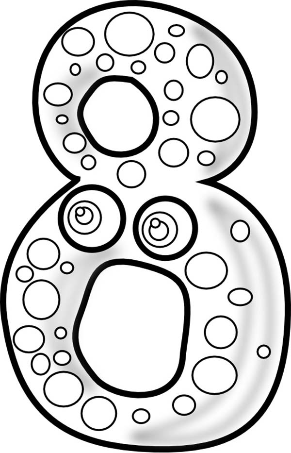Number 8, : Big Number 8 Coloring Page
