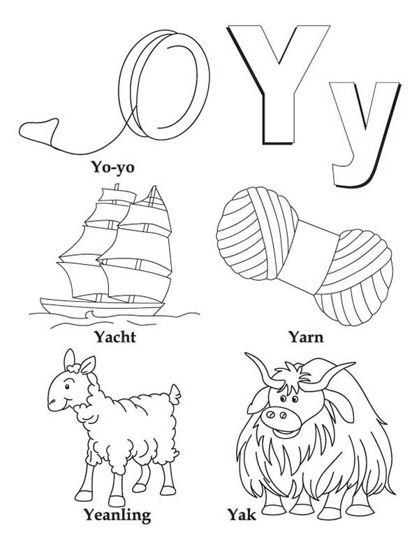 Letter Y, : Big and Small Case Letter Y Coloring Page